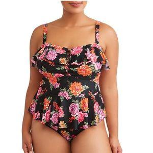 Terra&Sky Womens Plus Floral One Piece Swimsuit